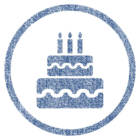 vectorized: Birthday Cake textured icon for overlay watermark stamps. Blue jeans fabric vectorized texture. Rounded flat vector symbol with unclean design.