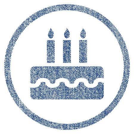christmas cake: Birthday Cake textured icon for overlay watermark stamps. Blue jeans fabric vectorized texture. Rounded flat vector symbol with dust design.