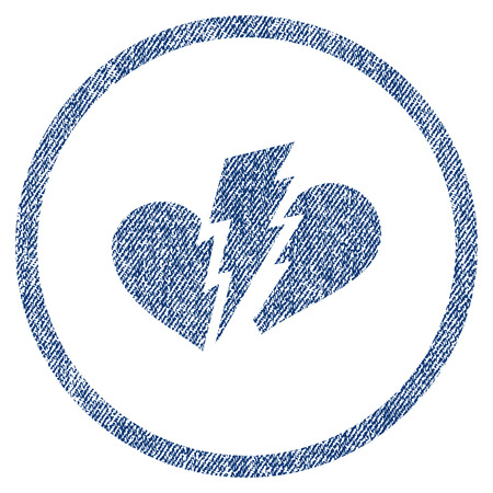 vectorized: Broken Heart textured icon for overlay watermark stamps. Blue jeans fabric vectorized texture. Rounded flat vector symbol with dirty design.