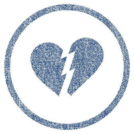 vectorized: Broken Heart textured icon for overlay watermark stamps. Blue jeans fabric vectorized texture. Rounded flat vector symbol with dust design.