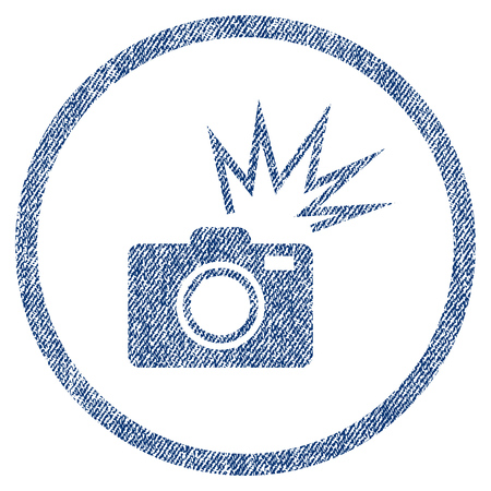 Camera Flash textured icon for overlay watermark stamps. Blue jeans fabric vectorized texture. Rounded flat vector symbol with scratched design.