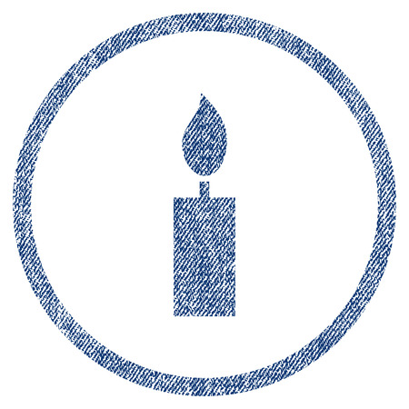 vectorized: Candle textured icon for overlay watermark stamps. Blue jeans fabric vectorized texture. Rounded flat vector symbol with unclean design. Illustration