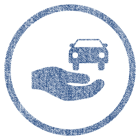 vectorized: Car Gift Hand textured icon for overlay watermark stamps. Blue jeans fabric vectorized texture. Rounded flat vector symbol with scratched design. Illustration