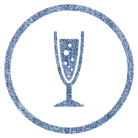aerated: Champagne Glass textured icon for overlay watermark stamps. Blue jeans fabric vectorized texture. Rounded flat vector symbol with dust design.
