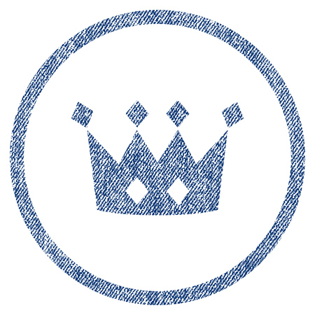 vectorized: Crown textured icon for overlay watermark stamps. Blue jeans fabric vectorized texture. Rounded flat vector symbol with dirty design. Circled blue ink rubber seal stamp with fiber textile structure.