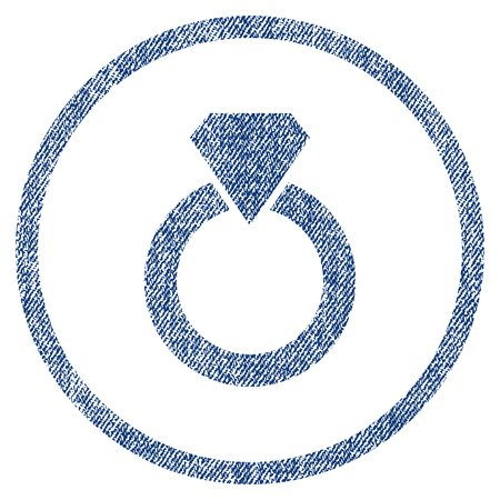 vectorized: Diamond Ring textured icon for overlay watermark stamps. Blue jeans fabric vectorized texture. Rounded flat vector symbol with dirty design. Illustration