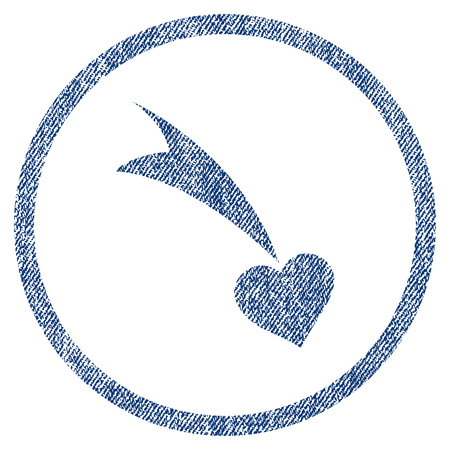 vectorized: Falling Heart textured icon for overlay watermark stamps. Blue jeans fabric vectorized texture. Rounded flat vector symbol with scratched design. Illustration