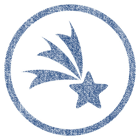 vectorized: Falling Star textured icon for overlay watermark stamps. Blue jeans fabric vectorized texture. Rounded flat vector symbol with dust design. Illustration