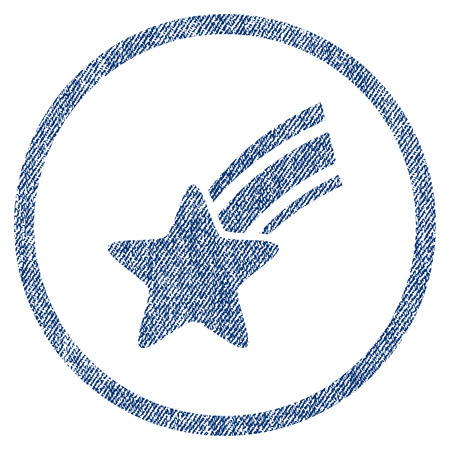 vectorized: Falling Star textured icon for overlay watermark stamps. Blue jeans fabric vectorized texture. Rounded flat vector symbol with scratched design.