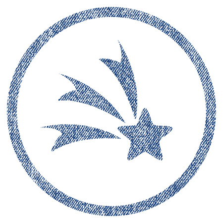 vectorized: Falling Star textured icon for overlay watermark stamps. Blue jeans fabric vectorized texture. Rounded flat vector symbol with unclean design.