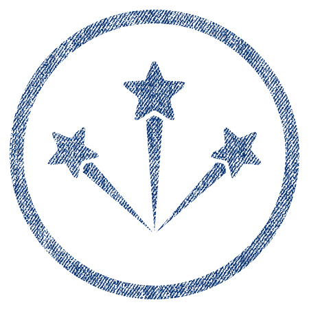 vectorized: Festive Fireworks textured icon for overlay watermark stamps. Blue jeans fabric vectorized texture. Rounded flat vector symbol with dirty design.