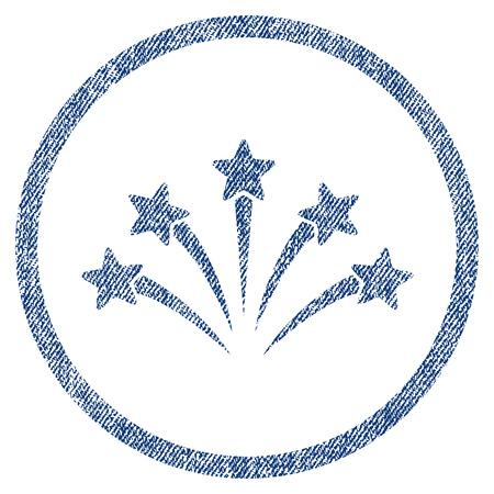vectorized: Fireworks Burst textured icon for overlay watermark stamps. Blue jeans fabric vectorized texture. Rounded flat vector symbol with unclean design.
