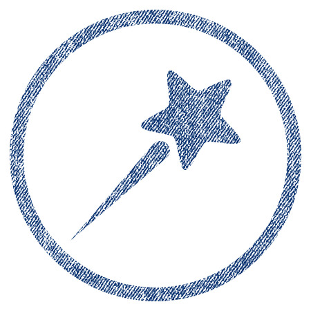 vectorized: Flying Star textured icon for overlay watermark stamps. Blue jeans fabric vectorized texture. Rounded flat vector symbol with dust design.