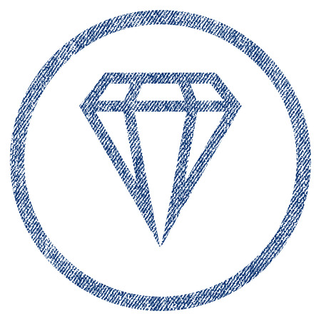 vectorized: Gem textured icon for overlay watermark stamps. Blue jeans fabric vectorized texture. Rounded flat vector symbol with unclean design. Circled blue ink rubber seal stamp with fiber textile structure. Illustration