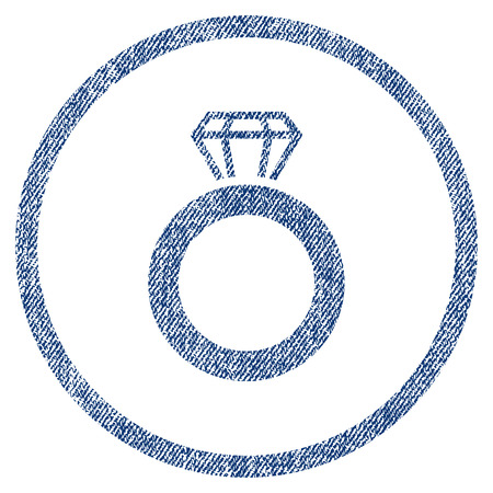 vectorized: Gem Ring textured icon for overlay watermark stamps. Blue jeans fabric vectorized texture. Rounded flat vector symbol with scratched design. Illustration