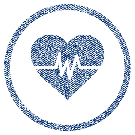vectorized: Heart Pulse textured icon for overlay watermark stamps. Blue jeans fabric vectorized texture. Rounded flat vector symbol with dirty design.