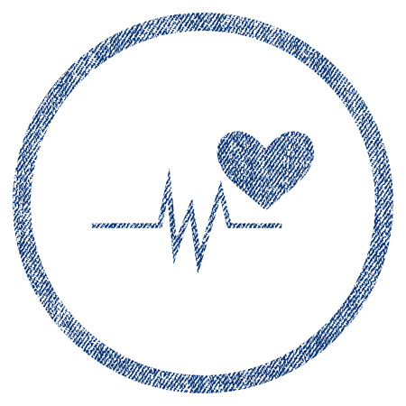 Heart Pulse Signal textured icon for overlay watermark stamps. Blue jeans fabric vectorized texture. Rounded flat vector symbol with dirty design. Illustration