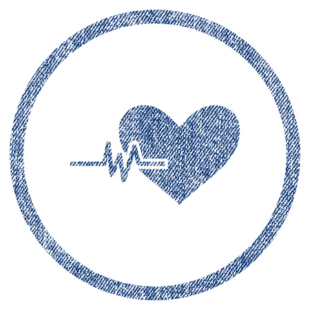 vectorized: Heart Pulse textured icon for overlay watermark stamps. Blue jeans fabric vectorized texture. Rounded flat vector symbol with scratched design. Illustration