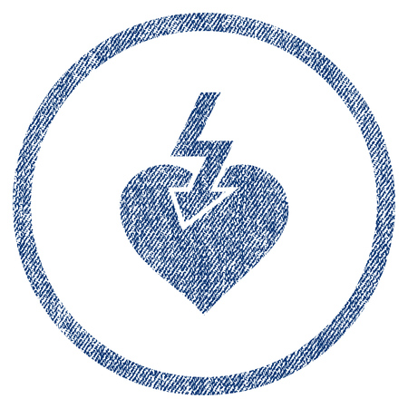 vectorized: Heart Shock Strike textured icon for overlay watermark stamps. Blue jeans fabric vectorized texture. Rounded flat vector symbol with dust design.