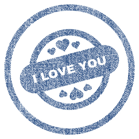 vectorized: I Love You Stamp Seal textured icon for overlay watermark stamps. Blue jeans fabric vectorized texture. Rounded flat vector symbol with unclean design. Illustration