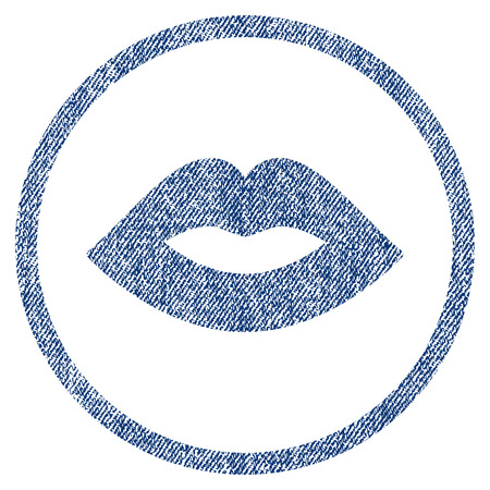vectorized: Lips textured icon for overlay watermark stamps. Blue jeans fabric vectorized texture. Rounded flat vector symbol with unclean design. Circled blue ink rubber seal stamp with fiber textile structure. Illustration