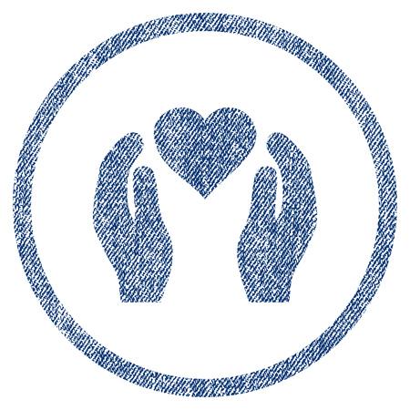 Love Care Hands strukturierte Ikone für Overlay-Wasserzeichen Briefmarken. Blue Jeans Stoff vektorisierte Textur. Abgerundetes flaches vektorsymbol mit schmutzigem Design.