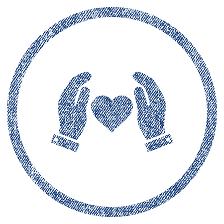 vectorized: Love Care Hands textured icon for overlay watermark stamps. Blue jeans fabric vectorized texture. Rounded flat vector symbol with scratched design. Illustration
