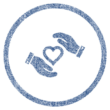 vectorized: Love Heart Care Hands textured icon for overlay watermark stamps. Blue jeans fabric vectorized texture. Rounded flat vector symbol with dirty design.