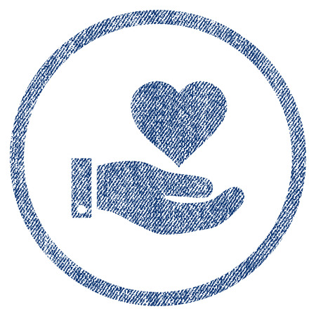 vectorized: Love Heart Offer Hand textured icon for overlay watermark stamps. Blue jeans fabric vectorized texture. Rounded flat vector symbol with unclean design.