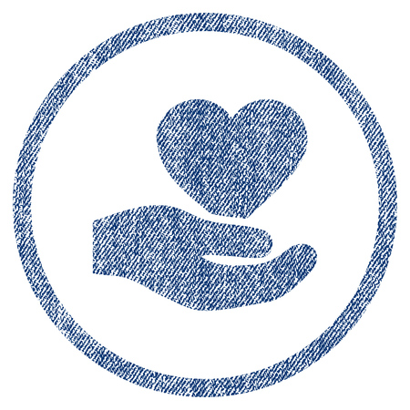 vectorized: Love Heart Offer Hand textured icon for overlay watermark stamps. Blue jeans fabric vectorized texture. Rounded flat vector symbol with dust design.