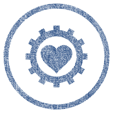 vectorized: Love Heart Options Gear textured icon for overlay watermark stamps. Blue jeans fabric vectorized texture. Rounded flat vector symbol with scratched design. Illustration
