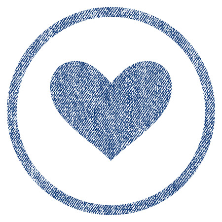 vectorized: Love Heart textured icon for overlay watermark stamps. Blue jeans fabric vectorized texture. Rounded flat vector symbol with unclean design.