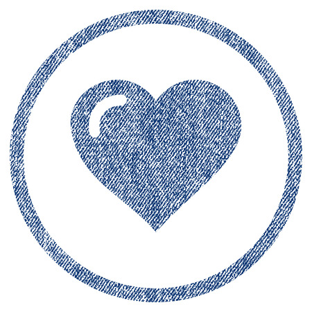 vectorized: Love Heart textured icon for overlay watermark stamps. Blue jeans fabric vectorized texture. Rounded flat vector symbol with scratched design. Illustration