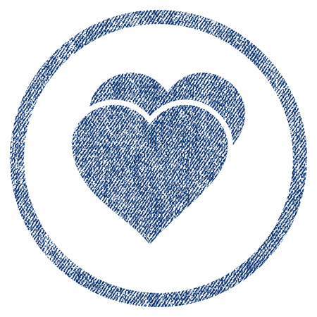 vectorized: Love Hearts textured icon for overlay watermark stamps. Blue jeans fabric vectorized texture. Rounded flat vector symbol with unclean design.