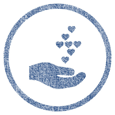 vectorized: Love Hearts Offer Hand textured icon for overlay watermark stamps. Blue jeans fabric vectorized texture. Rounded flat vector symbol with unclean design.