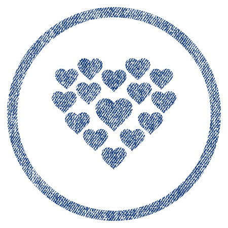 vectorized: Love Hearts Shape textured icon for overlay watermark stamps. Blue jeans fabric vectorized texture. Rounded flat vector symbol with unclean design.