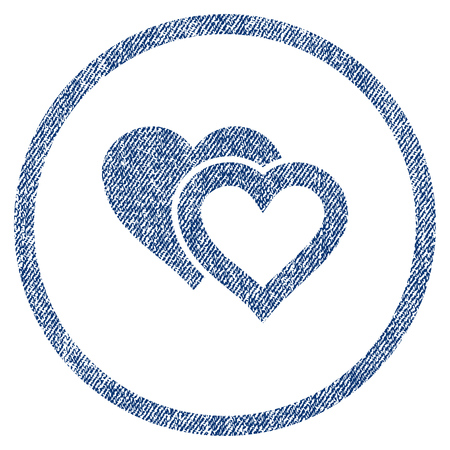 vectorized: Love Hearts textured icon for overlay watermark stamps. Blue jeans fabric vectorized texture. Rounded flat vector symbol with scratched design. Illustration
