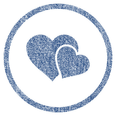 vectorized: Love Hearts textured icon for overlay watermark stamps. Blue jeans fabric vectorized texture. Rounded flat vector symbol with dust design.