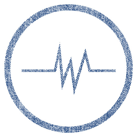 vectorized: Pulse Signal textured icon for overlay watermark stamps. Blue jeans fabric vectorized texture. Rounded flat vector symbol with dirty design.