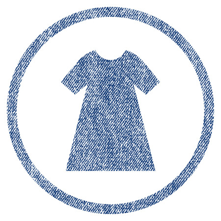 vectorized: Woman Dress textured icon for overlay watermark stamps. Blue jeans fabric vectorized texture. Rounded flat vector symbol with scratched design.
