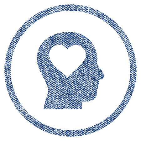 vectorized: Love In Head textured icon for overlay watermark stamps. Blue jeans fabric vectorized texture. Rounded flat vector symbol with dust design.