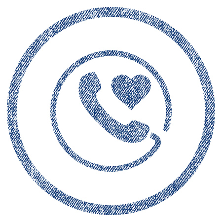 vectorized: Love Phone textured icon for overlay watermark stamps. Blue jeans fabric vectorized texture. Rounded flat vector symbol with scratched design.