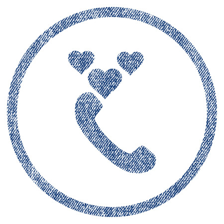 vectorized: Love Phone Call textured icon for overlay watermark stamps. Blue jeans fabric vectorized texture. Rounded flat vector symbol with dirty design. Illustration