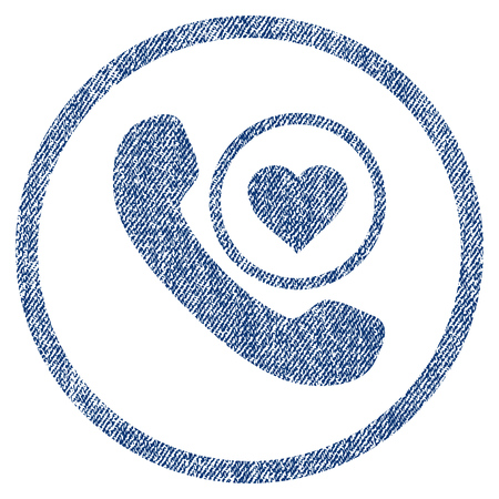 vectorized: Love Phone Call textured icon for overlay watermark stamps. Blue jeans fabric vectorized texture. Rounded flat vector symbol with unclean design.