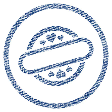 vectorized: Love Stamp Seal textured icon for overlay watermark stamps. Blue jeans fabric vectorized texture. Rounded flat vector symbol with scratched design.