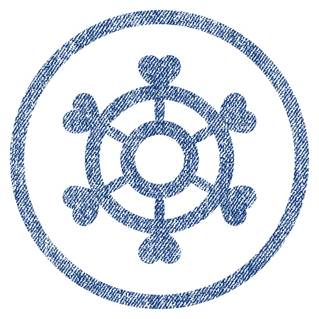 vectorized: Lovely Boat Steering Wheel textured icon for overlay watermark stamps. Blue jeans fabric vectorized texture. Rounded flat vector symbol with dirty design.