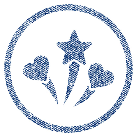 vectorized: Lovely Fireworks textured icon for overlay watermark stamps. Blue jeans fabric vectorized texture. Rounded flat vector symbol with dirty design. Illustration