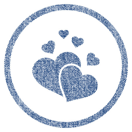 vectorized: Lovely Hearts textured icon for overlay watermark stamps. Blue jeans fabric vectorized texture. Rounded flat vector symbol with scratched design. Illustration