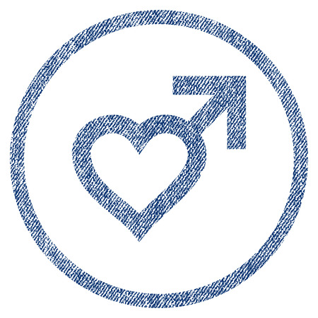 vectorized: Male Heart textured icon for overlay watermark stamps. Blue jeans fabric vectorized texture. Rounded flat vector symbol with scratched design.