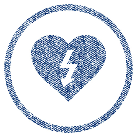 vectorized: Power Love Heart textured icon for overlay watermark stamps. Blue jeans fabric vectorized texture. Rounded flat vector symbol with unclean design. Illustration